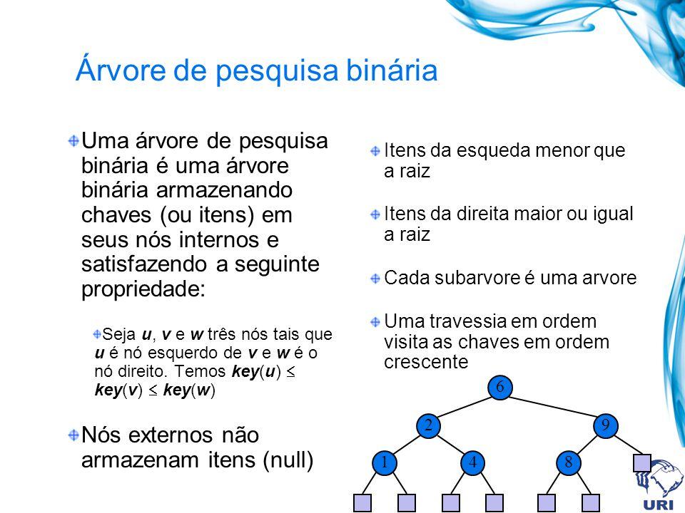 Árvore de pesquisa binária Uma árvore de pesquisa binária é uma árvore binária armazenando chaves (ou itens) em seus nós internos e satisfazendo a seg