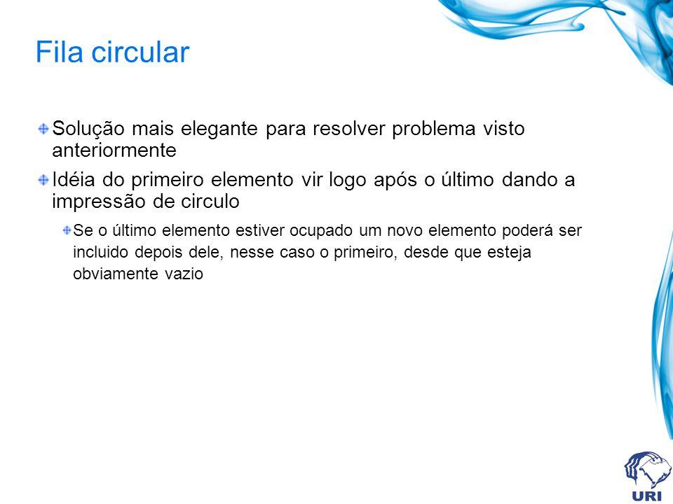 Fila circular Mecanismo da fila circular 50 40 30 q.item 4321043210 (a) 50 40 30 60 q.item 4321043210 Inicio=2 (b) 50 60 q.item 4321043210 (c) 50 70 60 q.item 4321043210 (d) fim=0 fim=4 Inicio=2 fim=0 Inicio=4 fim=1 Inicio=4