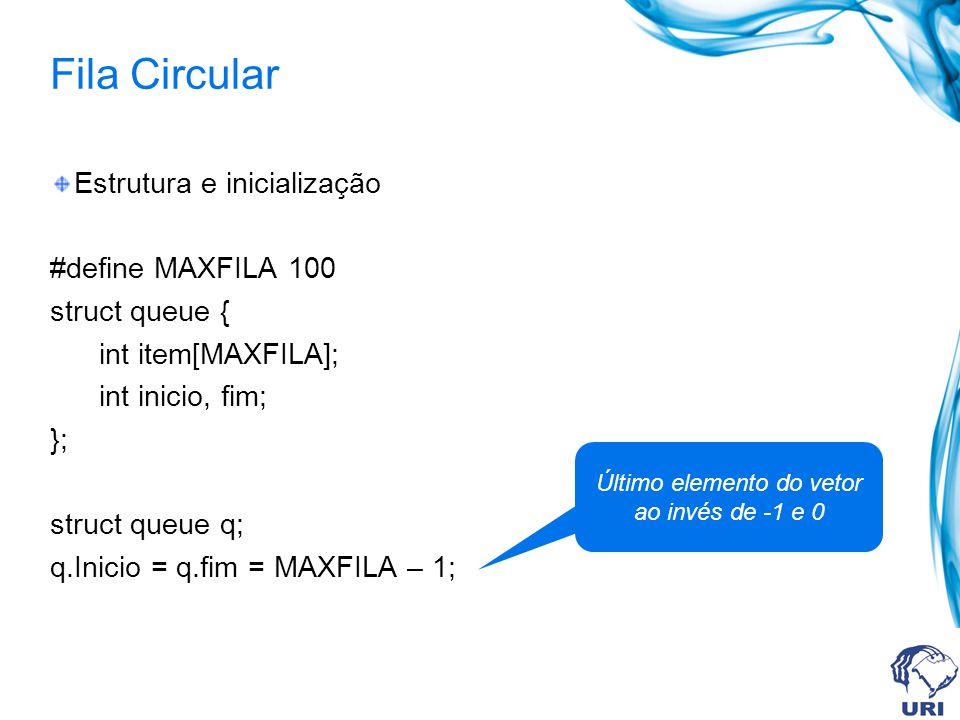 Inicialização da fila void inicFila(struct queue *pq){ pq inicio = MAXFILA – 1; pq fim = MAXFILA – 1; }
