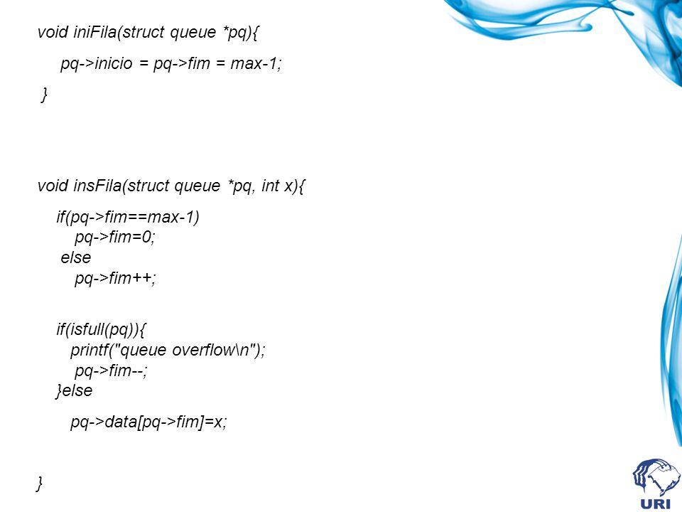 int remFila(struct queue *pq) { if(isfull(pq)){ printf( queue underflow\n ); return 0; } if(pq->inicio==max-1) pq->inicio=0; else pq->inicio++; return pq->data[pq->inicio]; } int isfull(struct queue *pq){ if(pq->inicio==pq->fim) return 1; else return 0; }