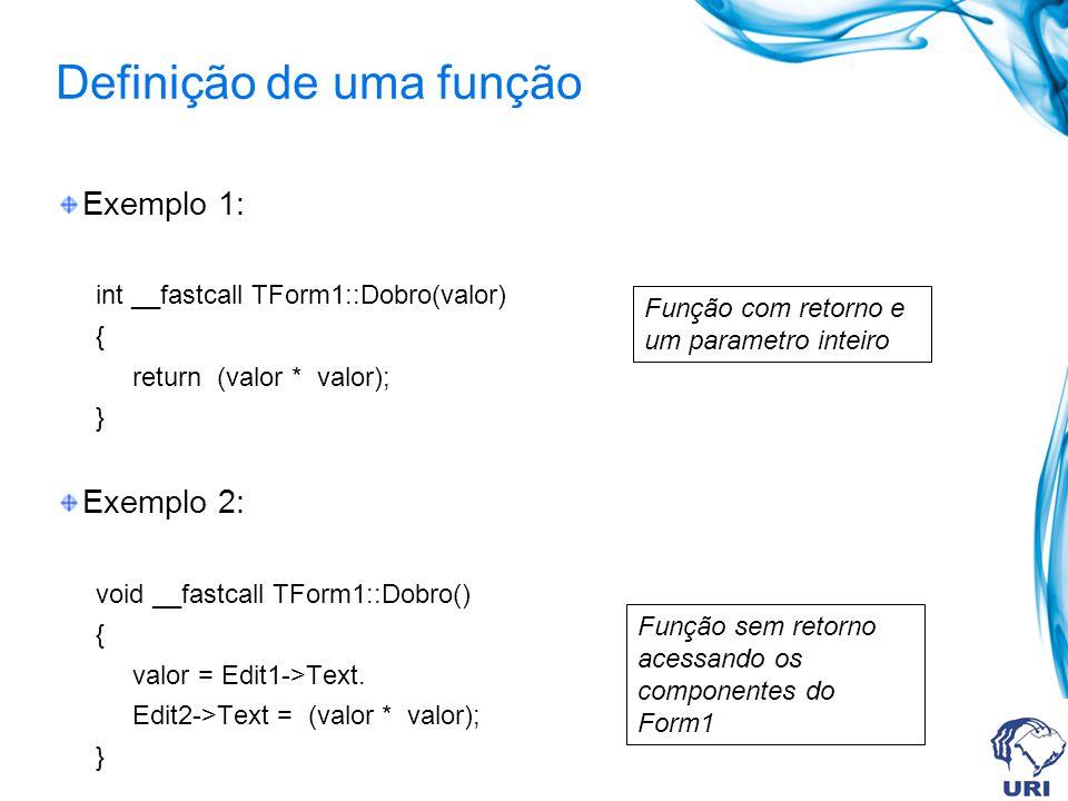 Exemplo Suponha que eu queira calcular a função: y = x 2 –3 De tal forma que o usuário digite o valor de x, e o computador calcule o valor de y e mostre o resultado na tela.