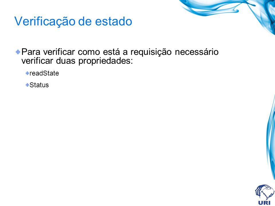 Verificação de estado Para verificar como está a requisição necessário verificar duas propriedades: readState Status