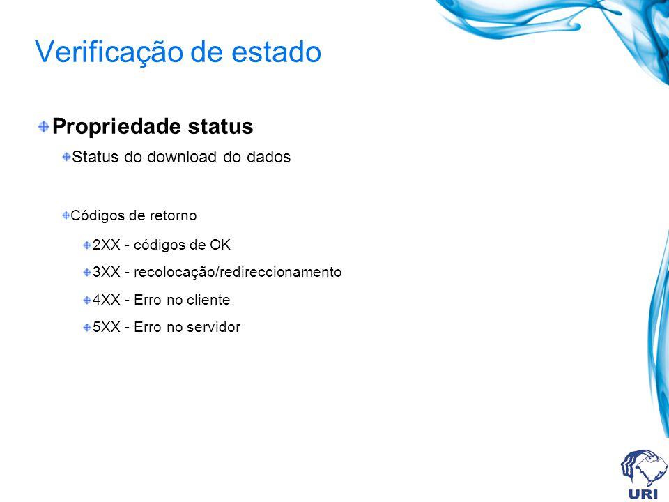 Verificação de estado Propriedade status Status do download do dados Códigos de retorno 2XX - códigos de OK 3XX - recolocação/redireccionamento 4XX - Erro no cliente 5XX - Erro no servidor