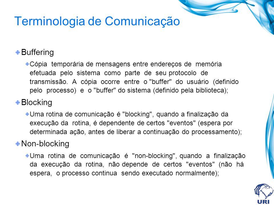 Terminologia de Comunicação Síncrono Comunicação na qual o processo que envia a mensagem, não retorna a execução normal, enquanto não haja um sinal do recebimento da mensagem pelo destinatário; Assíncrono Comunicação na qual o processo que envia a mensagem, não espera que haja um sinal de recebimento da mensagem pelo destinatário.