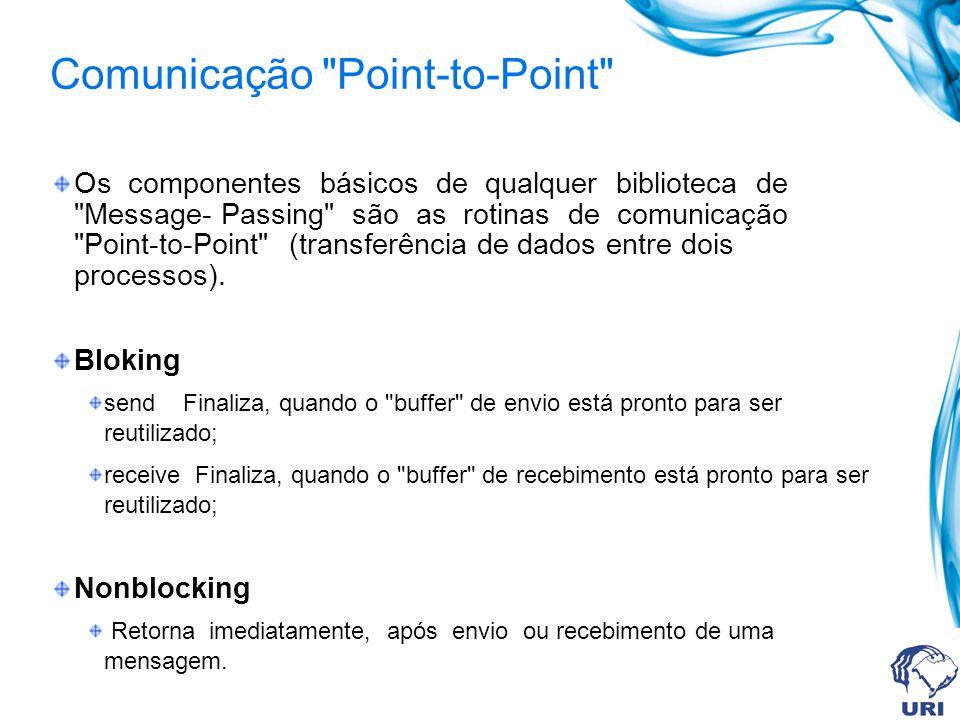Comunicação Point-to-Point Os componentes básicos de qualquer biblioteca de Message- Passing são as rotinas de comunicação Point-to-Point (transferência de dados entre dois processos).