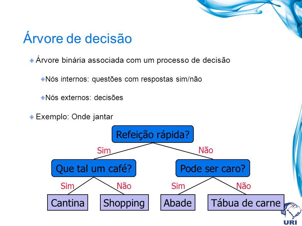 Árvore de decisão Árvore binária associada com um processo de decisão Nós internos: questões com respostas sim/não Nós externos: decisões Exemplo: Ond