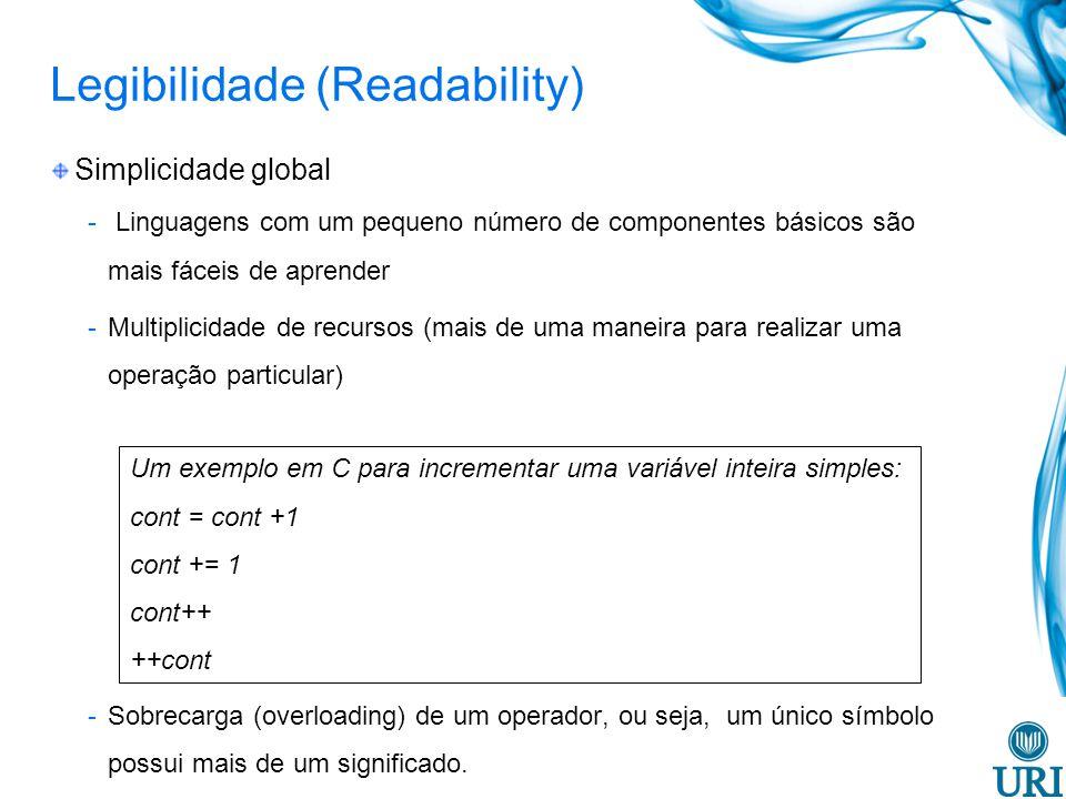 Legibilidade (Readability) Ortogonalidade -Diz respeito a capacidade da LP permitir ao programador combinar seus conceitos básicos sem que se produzam efeito anômalos nessa combinação.