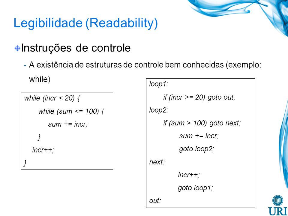 Legibilidade (Readability) Tipos de dados e estruturas -A presença de facilidades adequadas para definir tipos de dados e estruturas de dados -Exemplo: suponha que em uma linguagem não exista um tipo de dado booleano e um tipo numérico seja usado para substituí-lo: o timeOut = 1 (significado não claro) o timeOut = true (significado claro)