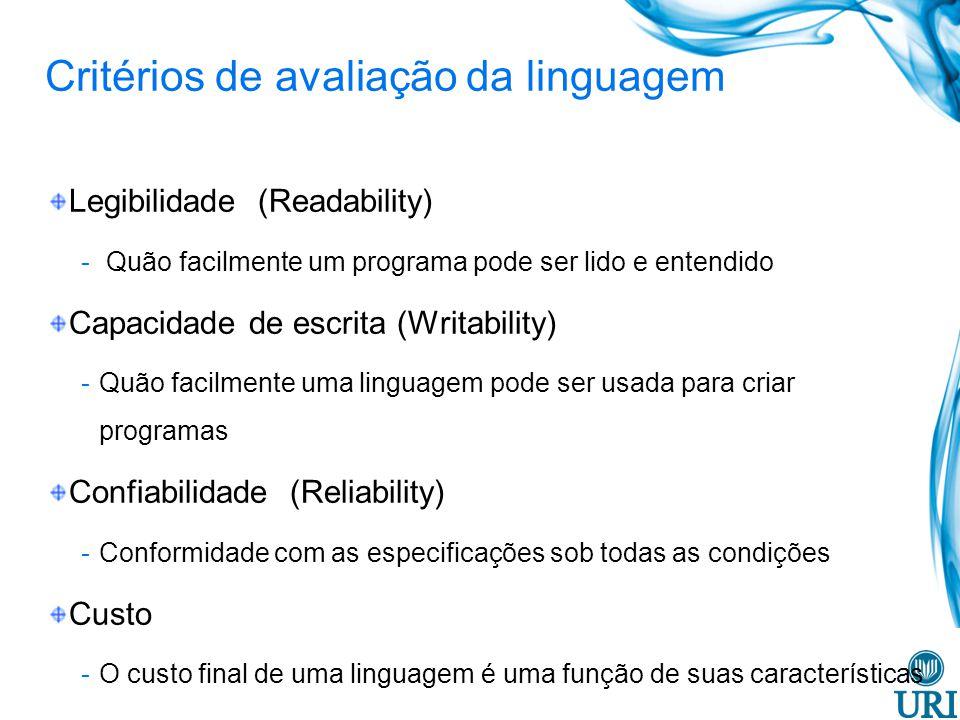 Legibilidade (Readability) Simplicidade global - Linguagens com um pequeno número de componentes básicos são mais fáceis de aprender -Multiplicidade de recursos (mais de uma maneira para realizar uma operação particular) -Sobrecarga (overloading) de um operador, ou seja, um único símbolo possui mais de um significado.