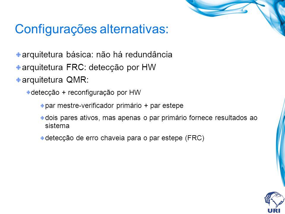 Configurações alternativas: arquitetura básica: não há redundância arquitetura FRC: detecção por HW arquitetura QMR: detecção + reconfiguração por HW