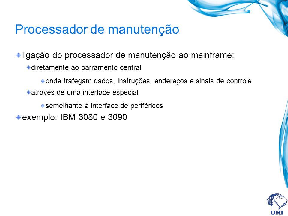 Processador de manutenção ligação do processador de manutenção ao mainframe: diretamente ao barramento central onde trafegam dados, instruções, endere