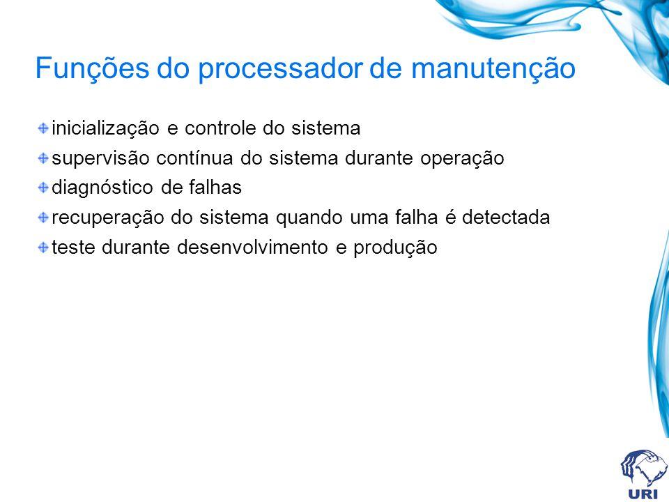 Funções do processador de manutenção inicialização e controle do sistema supervisão contínua do sistema durante operação diagnóstico de falhas recuper