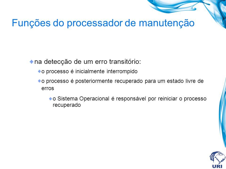 Funções do processador de manutenção na detecção de um erro transitório: o processo é inicialmente interrompido o processo é posteriormente recuperado