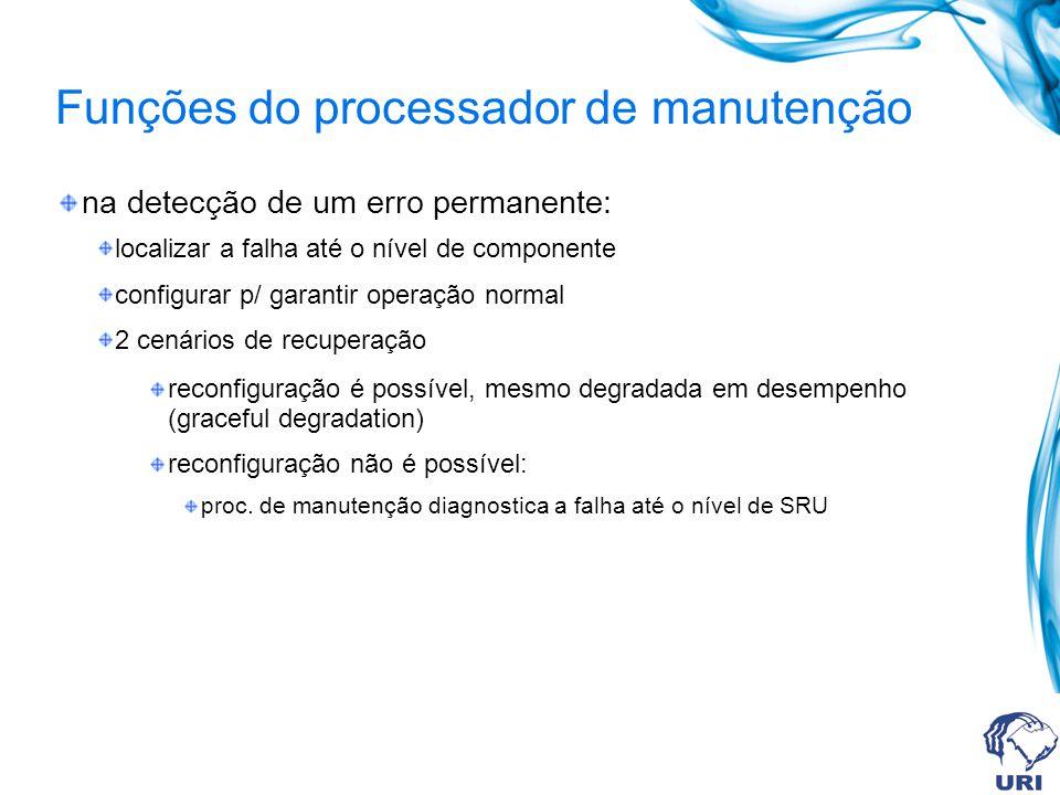 Funções do processador de manutenção na detecção de um erro permanente: localizar a falha até o nível de componente configurar p/ garantir operação no