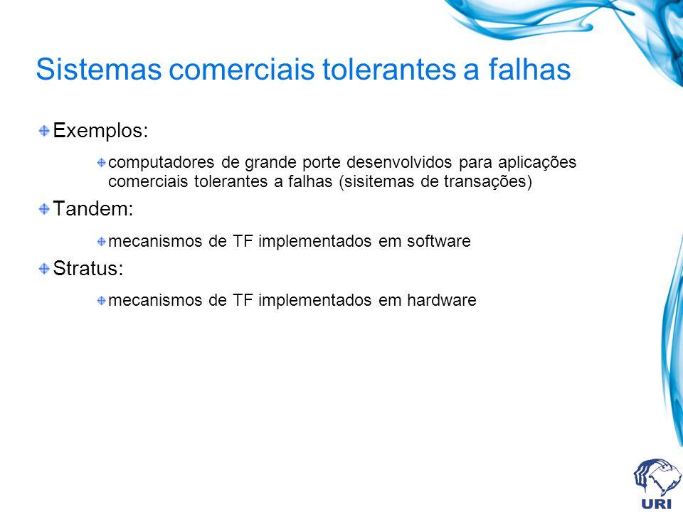 Sistemas comerciais tolerantes a falhas Exemplos: computadores de grande porte desenvolvidos para aplicações comerciais tolerantes a falhas (sisitemas