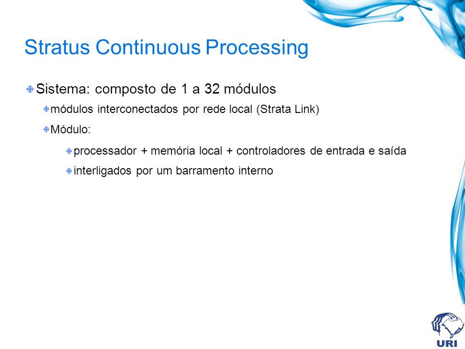 Stratus Continuous Processing Sistema: composto de 1 a 32 módulos módulos interconectados por rede local (Strata Link) Módulo: processador + memória l