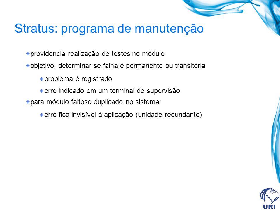 Stratus: programa de manutenção providencia realização de testes no módulo objetivo: determinar se falha é permanente ou transitória problema é regist