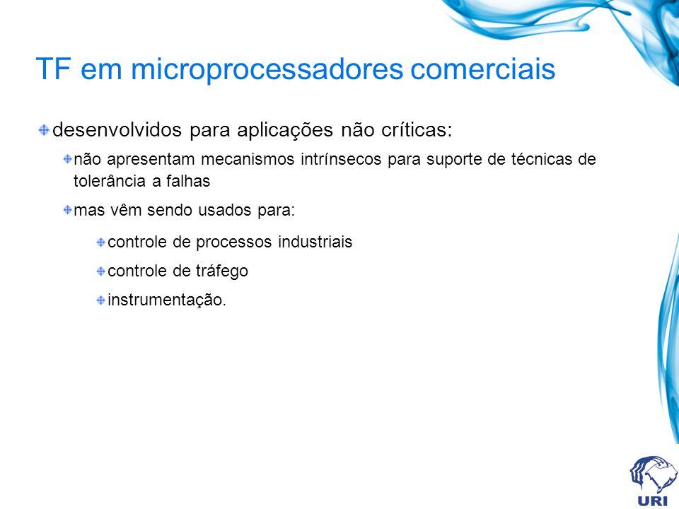 TF em microprocessadores comerciais desenvolvidos para aplicações não críticas: não apresentam mecanismos intrínsecos para suporte de técnicas de tole