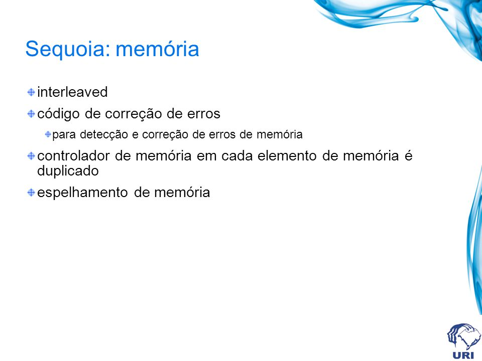 Sequoia: memória interleaved código de correção de erros para detecção e correção de erros de memória controlador de memória em cada elemento de memór