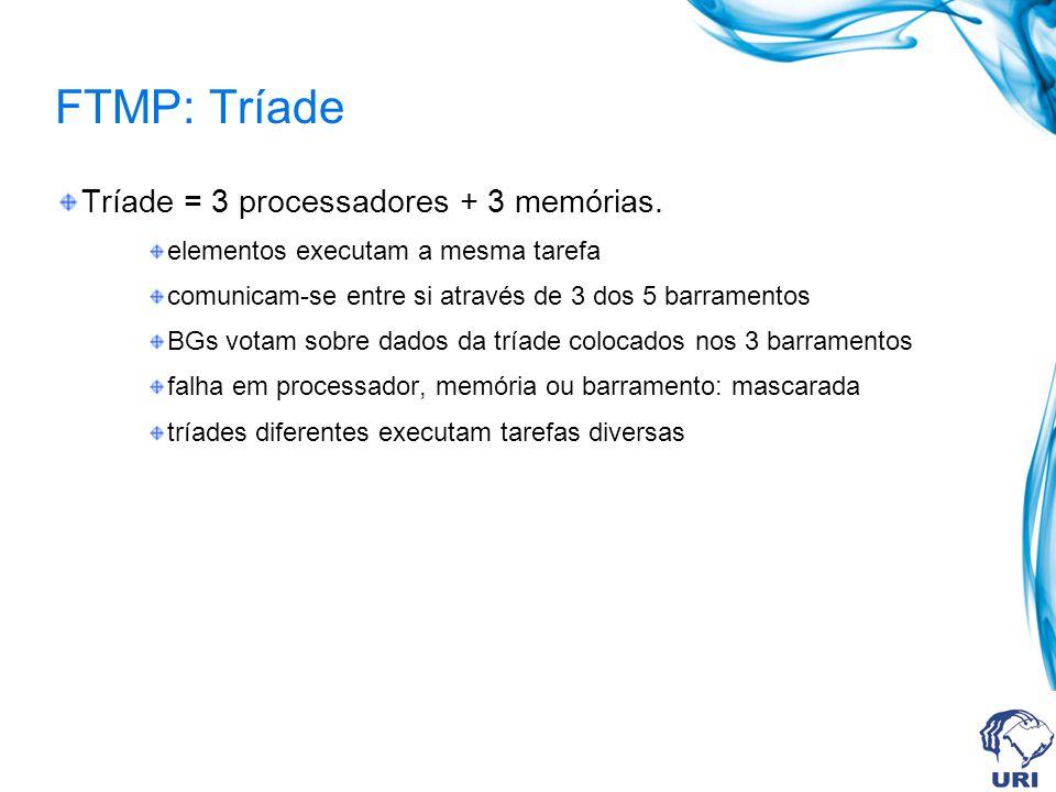 FTMP: Tríade Tríade = 3 processadores + 3 memórias. elementos executam a mesma tarefa comunicam-se entre si através de 3 dos 5 barramentos BGs votam s