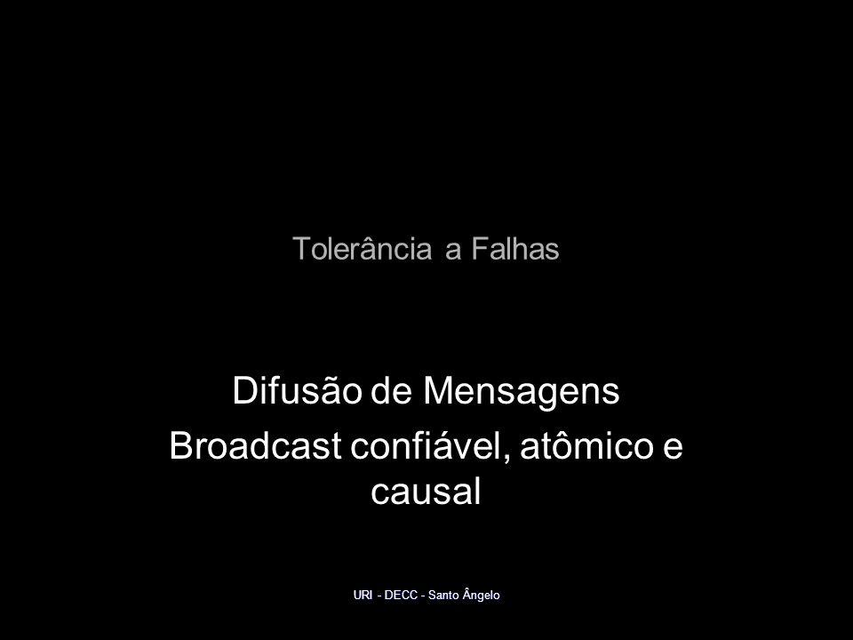 URI - DECC - Santo Ângelo Tolerância a Falhas Difusão de Mensagens Broadcast confiável, atômico e causal