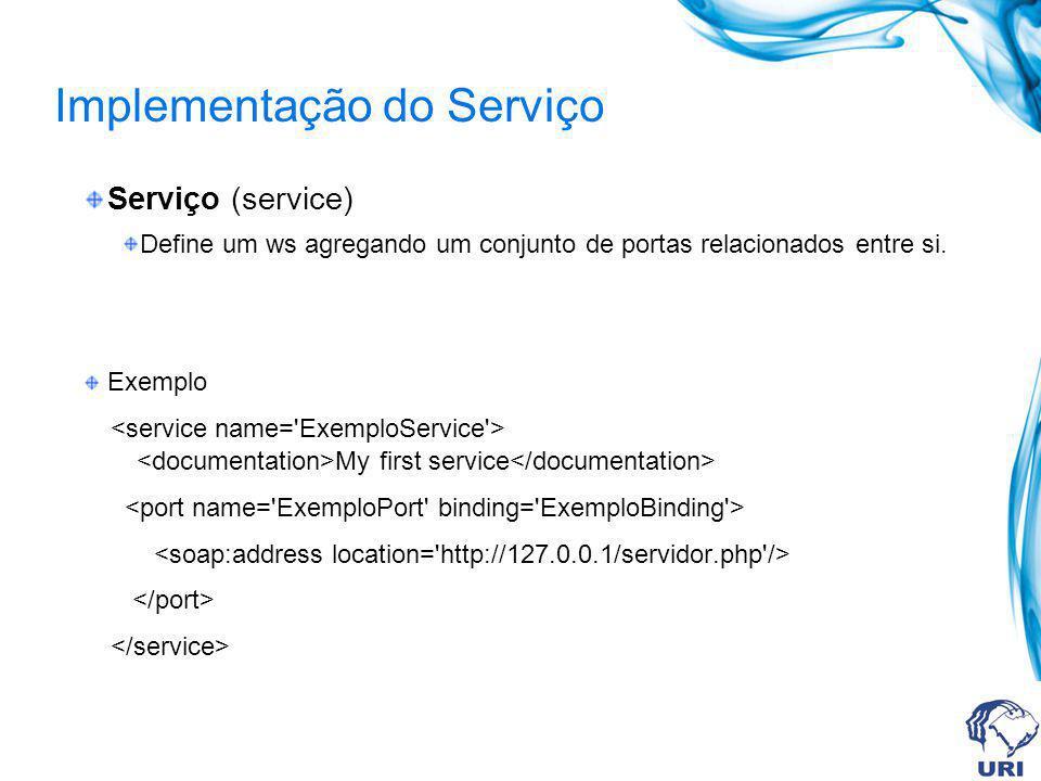 Implementação do Serviço Serviço (service) Define um ws agregando um conjunto de portas relacionados entre si. Exemplo My first service