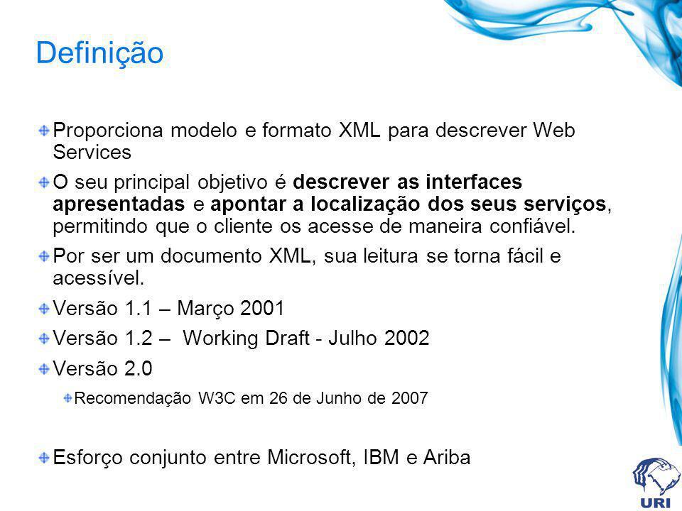 Definição Proporciona modelo e formato XML para descrever Web Services O seu principal objetivo é descrever as interfaces apresentadas e apontar a loc