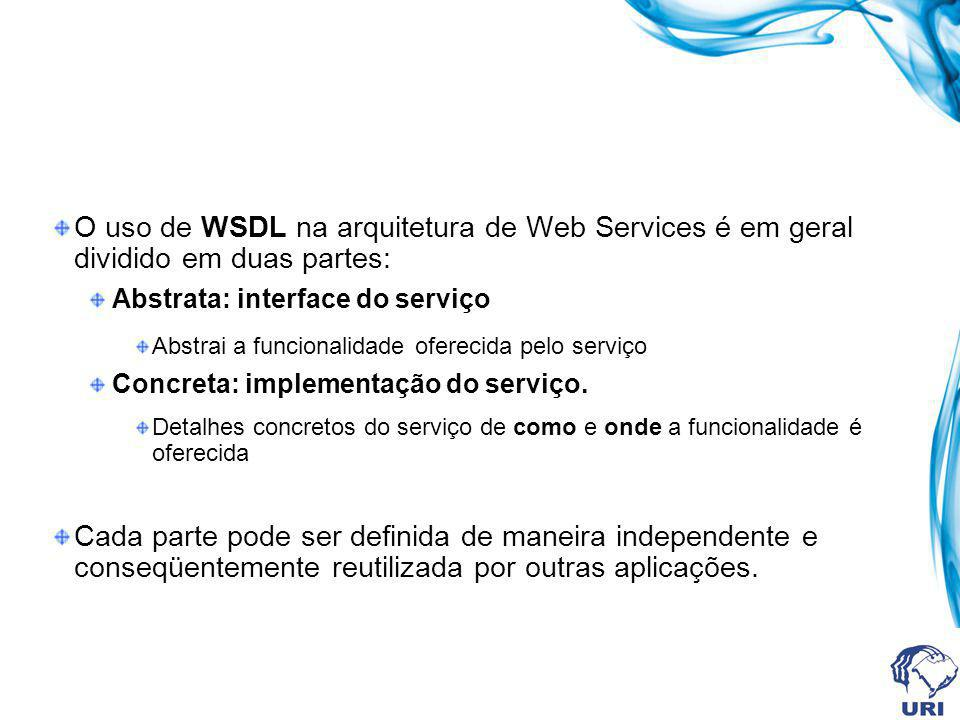 Elementos da WSDL WSDL document Types (type information for the document, e.g., XML Schema) Message 1Message 4Message 3Message 2 Operation 1Operation 3Operation 2 Message 6Message 5 Interface (abstract service) binding 1 endpoint 1 binding 2 endpoint 2 binding 3 endpoint 3 binding 4 endpoint 4 Service (the interface in all its available implementations) Abstract description of the service Concrete description of the service