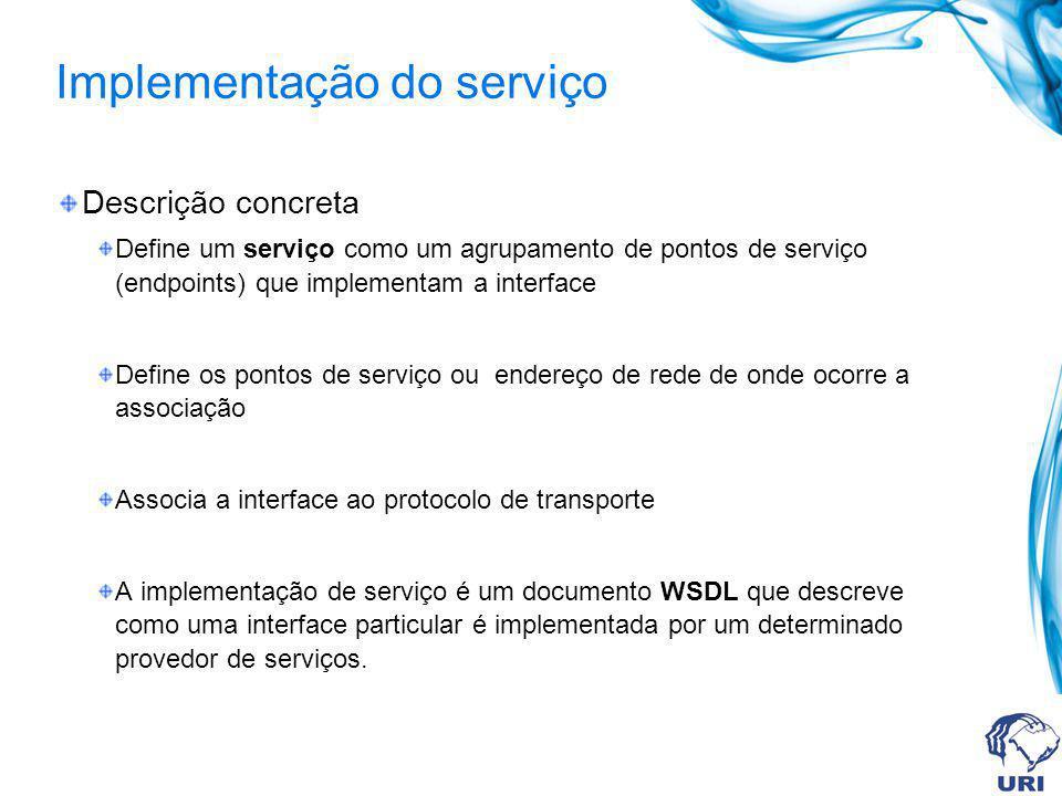 Implementação do serviço Descrição concreta Define um serviço como um agrupamento de pontos de serviço (endpoints) que implementam a interface Define