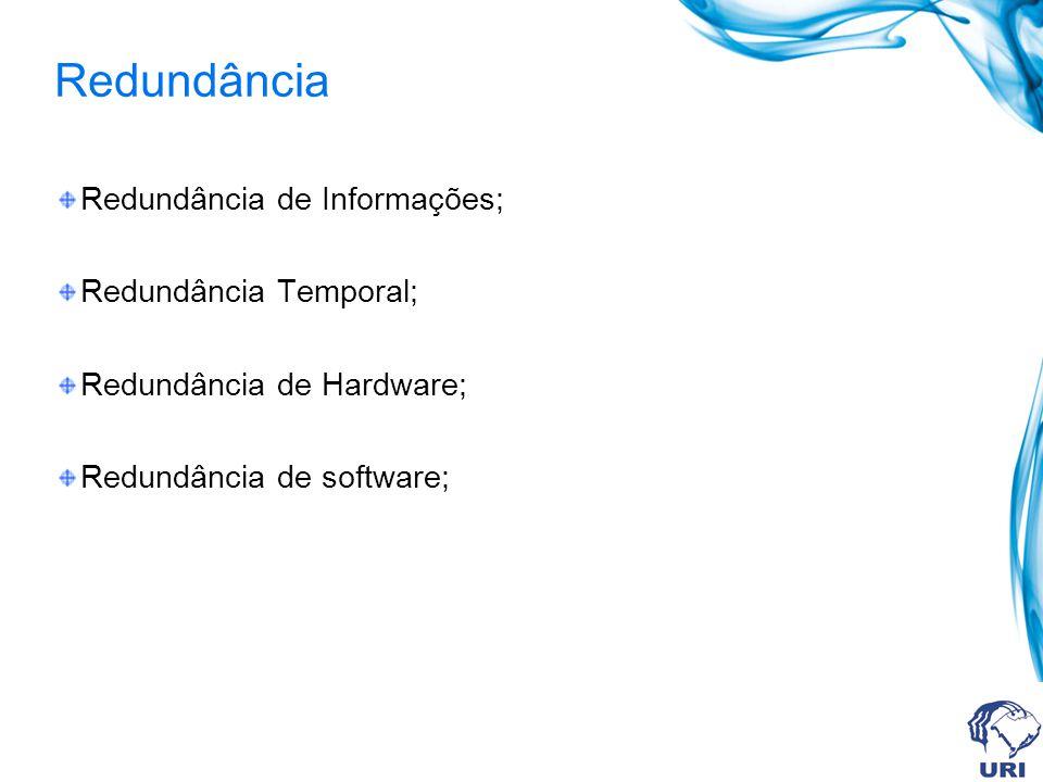Redundância Redundância de Informações; Redundância Temporal; Redundância de Hardware; Redundância de software;