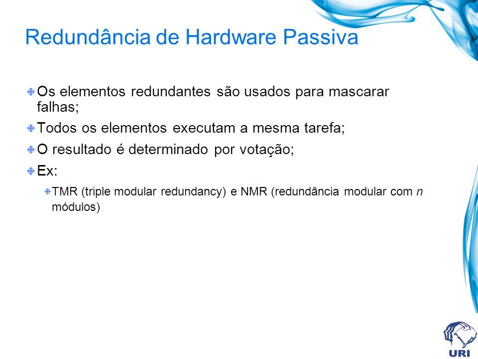 Redundância de Hardware Passiva Os elementos redundantes são usados para mascarar falhas; Todos os elementos executam a mesma tarefa; O resultado é de