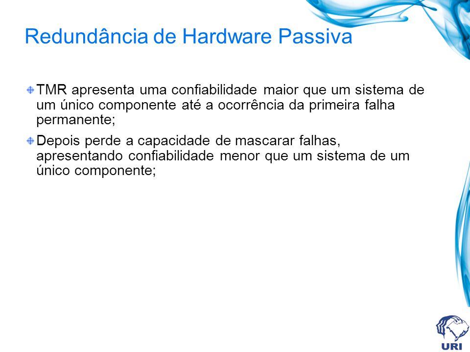 Redundância de Hardware Passiva TMR apresenta uma confiabilidade maior que um sistema de um único componente até a ocorrência da primeira falha perman