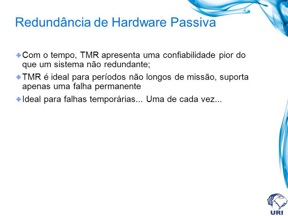Redundância de Hardware Passiva Com o tempo, TMR apresenta uma confiabilidade pior do que um sistema não redundante; TMR é ideal para períodos não lon