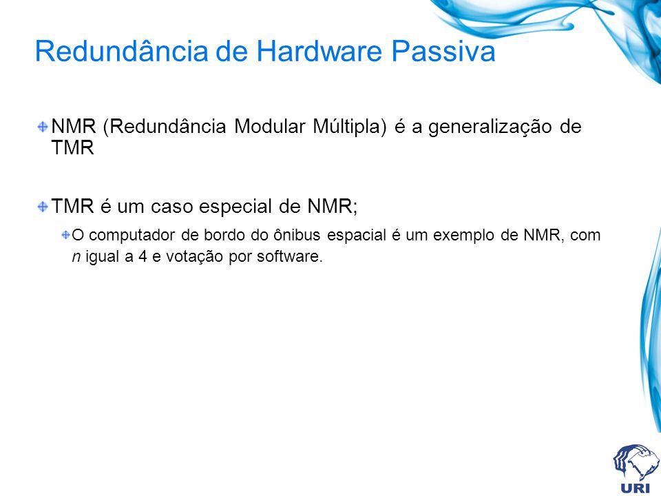 Redundância de Hardware Passiva NMR (Redundância Modular Múltipla) é a generalização de TMR TMR é um caso especial de NMR; O computador de bordo do ôn