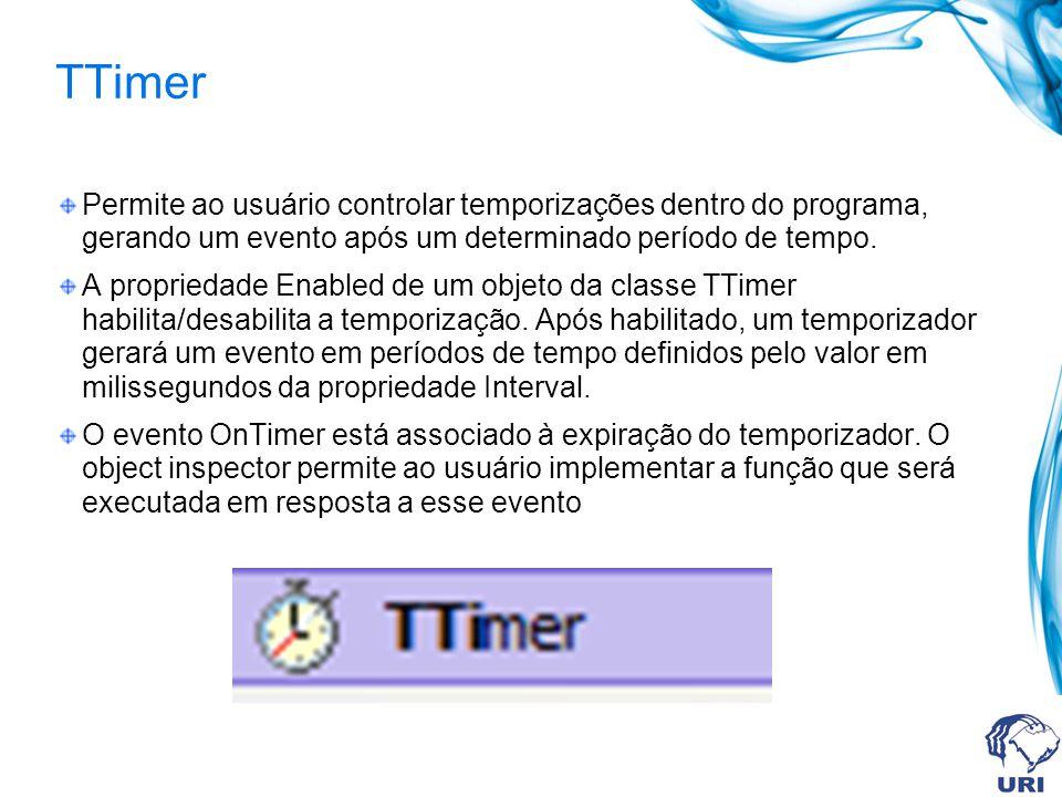 Permite ao usuário controlar temporizações dentro do programa, gerando um evento após um determinado período de tempo.