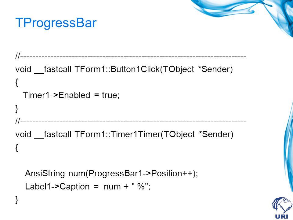 TProgressBar //--------------------------------------------------------------------------- void __fastcall TForm1::Button1Click(TObject *Sender) { Timer1->Enabled = true; } //--------------------------------------------------------------------------- void __fastcall TForm1::Timer1Timer(TObject *Sender) { AnsiString num(ProgressBar1->Position++); Label1->Caption = num + % ; }