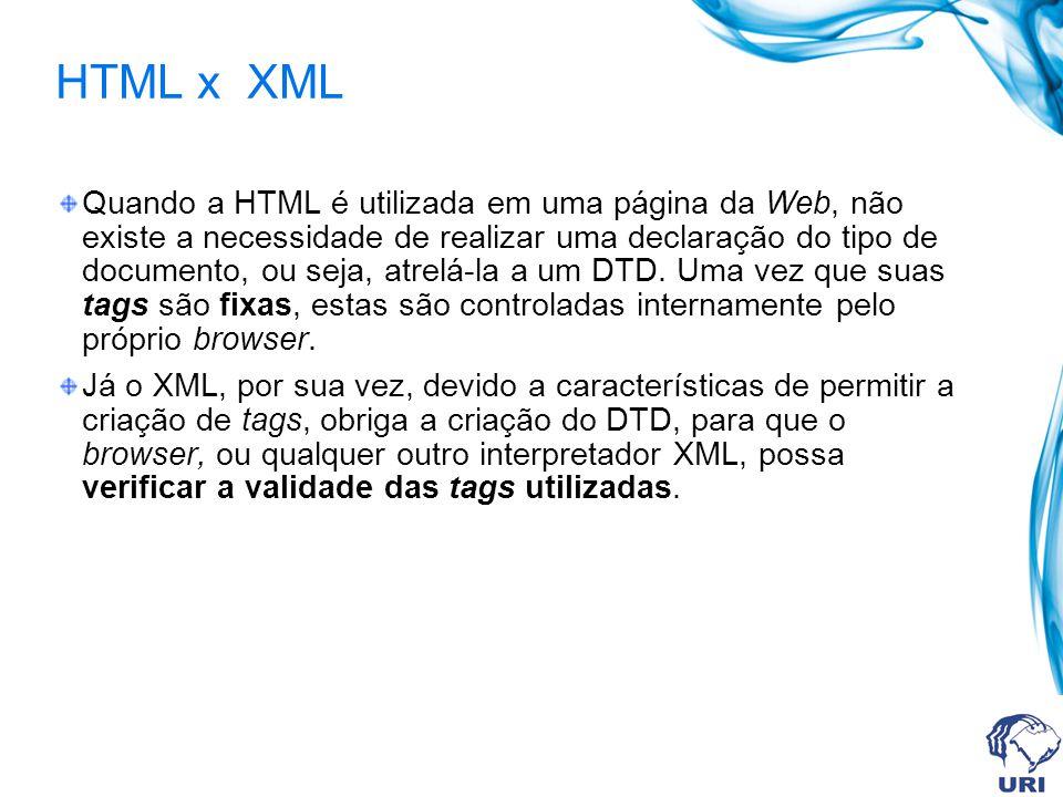 HTML x XML Quando a HTML é utilizada em uma página da Web, não existe a necessidade de realizar uma declaração do tipo de documento, ou seja, atrelá-la a um DTD.