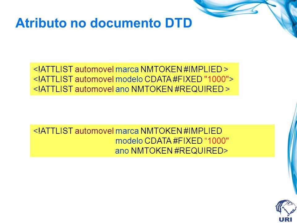 Atributo no documento DTD <!ATTLIST automovel marca NMTOKEN #IMPLIED modelo CDATA #FIXED 1000 ano NMTOKEN #REQUIRED>