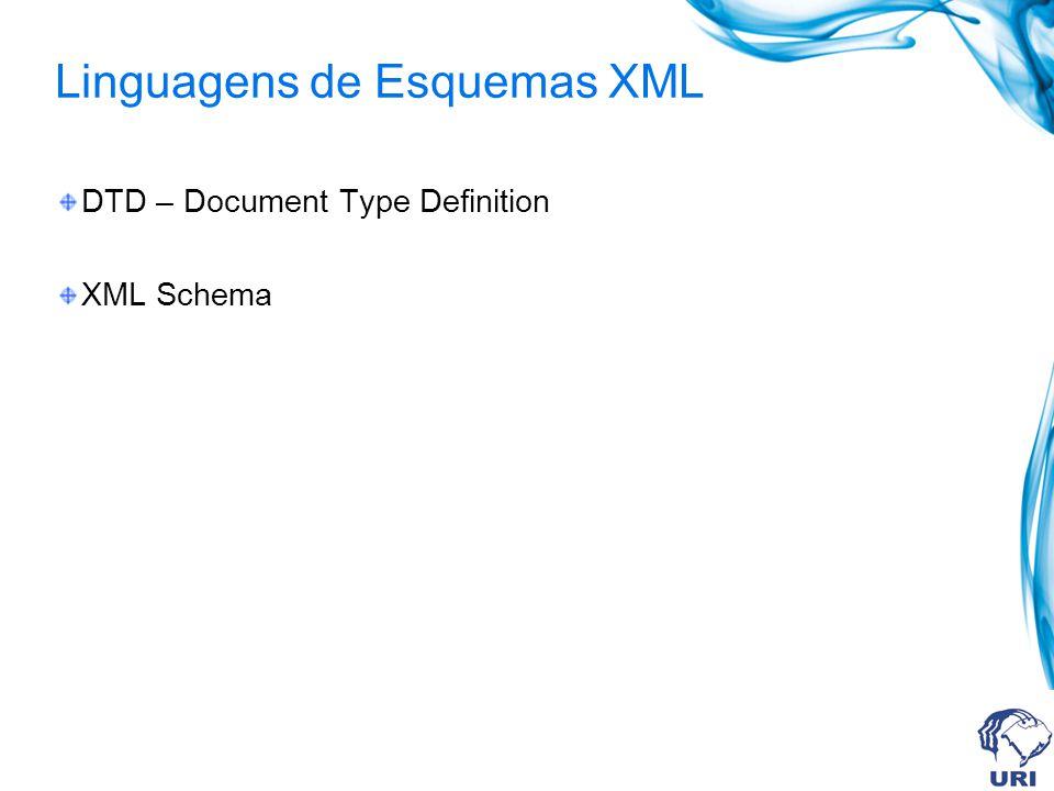 Formas de declaração do DTD A definição das regras de um DTD, não necessita estar armazenada obrigatoriamente em um arquivo externo.