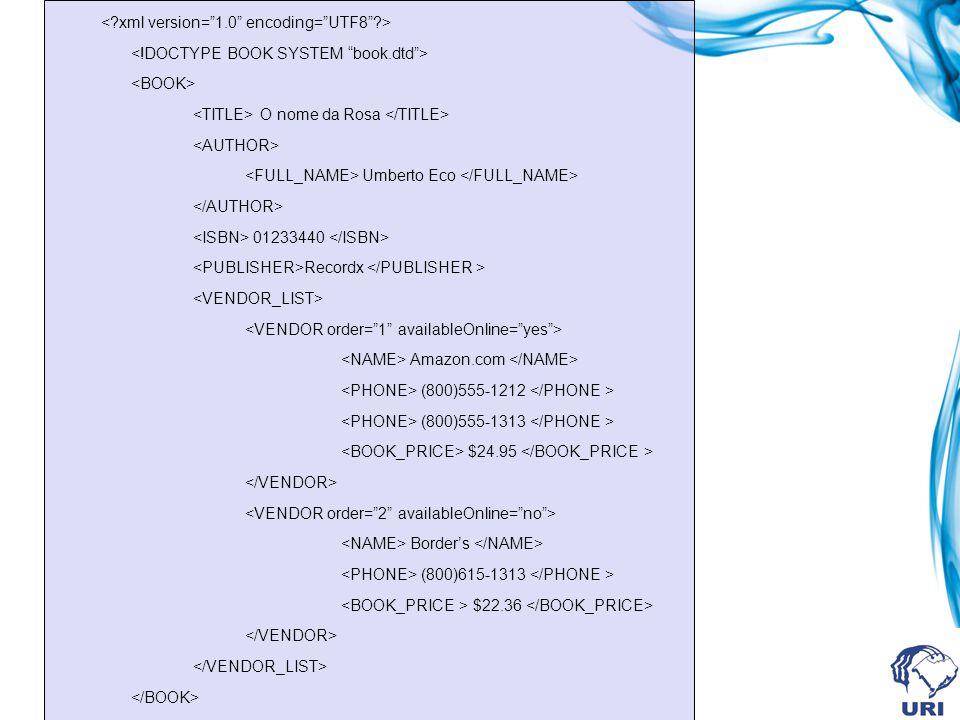 O nome da Rosa Umberto Eco 01233440 Recordx Amazon.com (800)555-1212 (800)555-1313 $24.95 Borders (800)615-1313 $22.36
