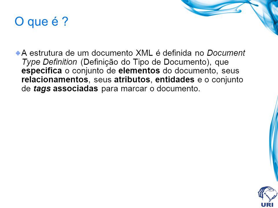 Função A principal função do DTD é definir todas as tags que um documento XML pode conter, determinando a ordem em que elas devem aparecer e se são obrigatórias ou opcionais Define uma gramática para validar documentos, isto é, conjunto de regras que definem a estrutura do documento Descreve a estrutura da árvore que pode ser aceita para o documento A validação compara um documento em particular com uma DTD correspondente É necessário que um documento seja bem-formado para ser validado