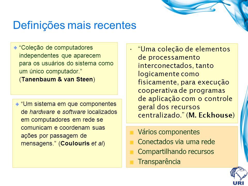 Definições mais recentes Coleção de computadores independentes que aparecem para os usuários do sistema como um único computador. (Tanenbaum & van Ste