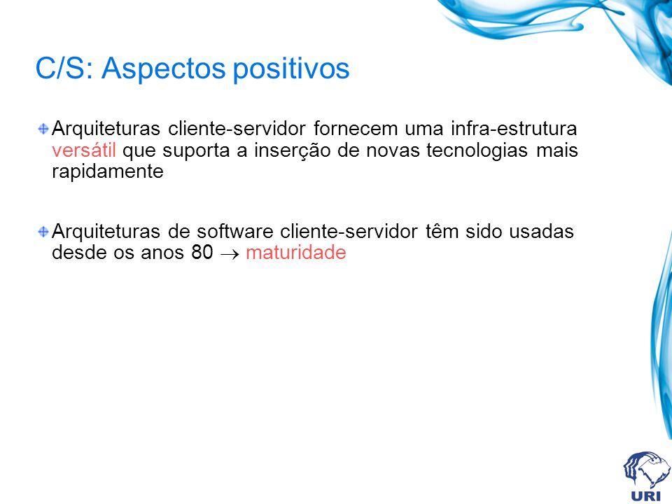 C/S: Aspectos positivos Arquiteturas cliente-servidor fornecem uma infra-estrutura versátil que suporta a inserção de novas tecnologias mais rapidamen