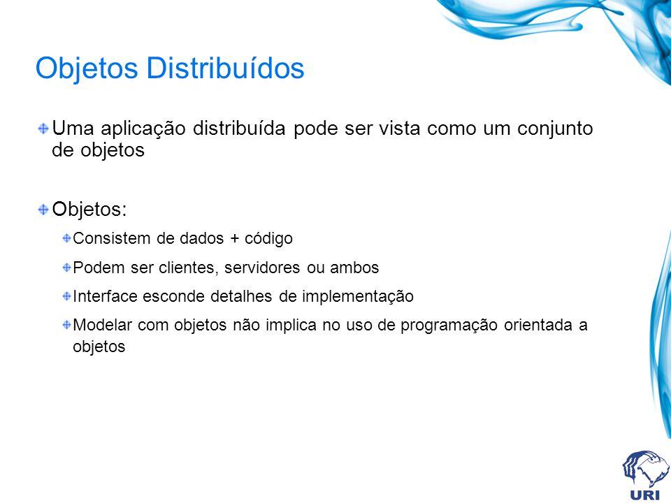 Objetos Distribuídos Uma aplicação distribuída pode ser vista como um conjunto de objetos Objetos: Consistem de dados + código Podem ser clientes, ser