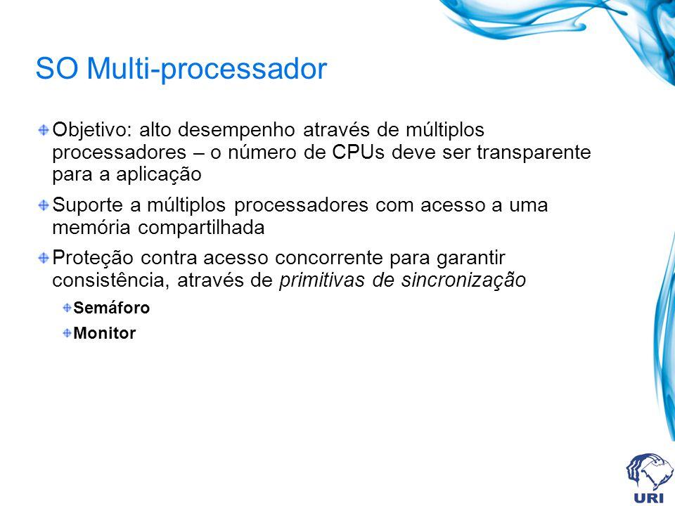 SO Multi-processador Objetivo: alto desempenho através de múltiplos processadores – o número de CPUs deve ser transparente para a aplicação Suporte a