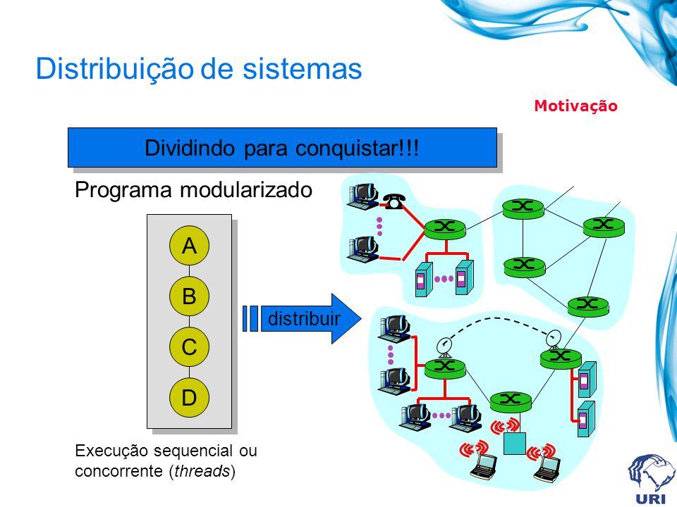 Distribuição de sistemas Dividindo para conquistar!!! A B C D Programa modularizado Execução sequencial ou concorrente (threads) distribuir Motivação