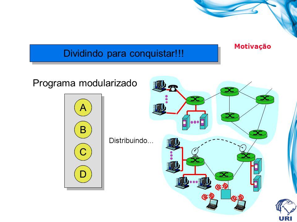 Dividindo para conquistar!!! A B C D Programa modularizado A B C D Motivação Distribuindo...