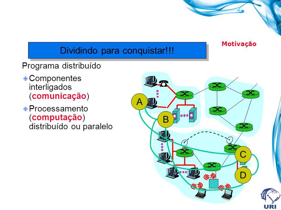Programa distribuído Componentes interligados (comunicação) Processamento (computação) distribuído ou paralelo Dividindo para conquistar!!! A C D B Mo