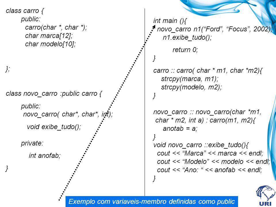 class carro { public: carro(char *, char *); char marca[12]; char modelo[10]; }; class novo_carro :public carro { public: novo_carro( char*, char*, in