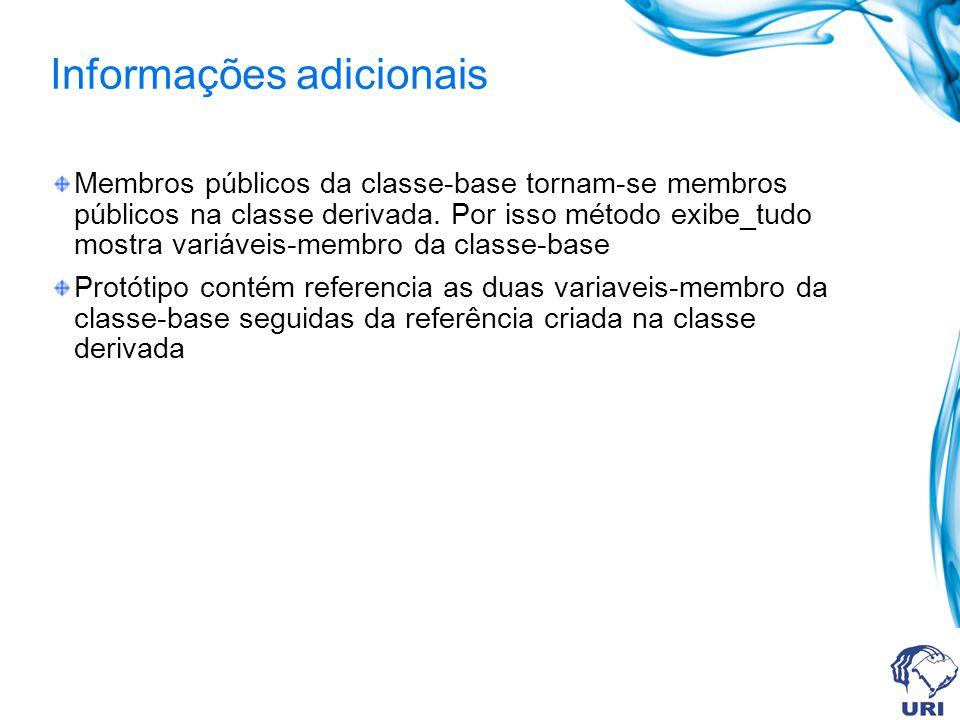 Informações adicionais Membros públicos da classe-base tornam-se membros públicos na classe derivada. Por isso método exibe_tudo mostra variáveis-memb